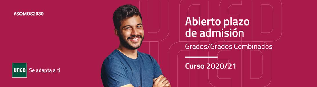 Abierto plazo de admisión para Grados y Grados combinados. UNED. Curso 2020/21